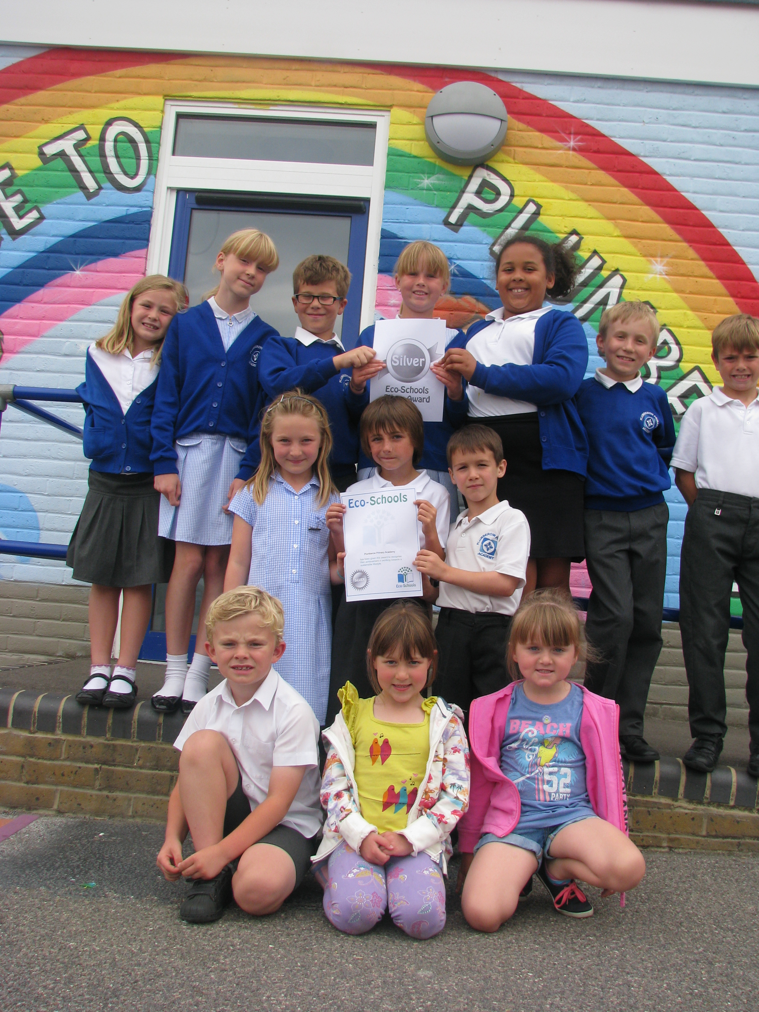 Eco Warriors proudly displaying their 'Silver' Status certificate for the Eco Schools Programme